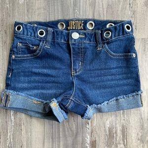 Justice Jean Shorts Grommet Waist Frayed Cuffed 10